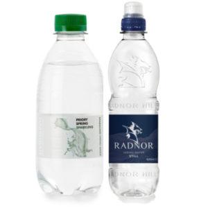 still and sparkling water bottles